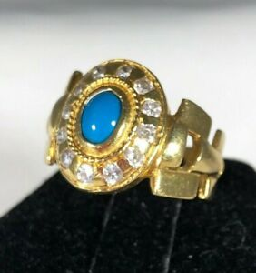 18K Yellow Gold Ring With Turquoise and Halo Stones Size 7.5 & 6.05 grams