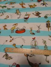 White/Blue Dr Seuss Striped Which Pet Should I Get Cotton Fabric by the Yard