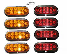 """4 AMBER 4 RED Oval 6"""" SURFACE MOUNT LED Turn Stop Light Trailer Truck RV 8 PIECE"""