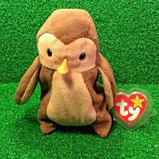 1995 Retired Ty Beanie Baby HOOT The Owl With Substantial Poem Errors - MWMT