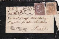 ITALIA REGNO 30c. DLR + 20c. arancio su raccomandata 1877 per Pisa