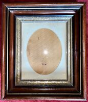 ANTIQUE Mahogany Fancy Gilt Deep PICTURE FRAME Paper Oval Matte Art Nouveau Deco