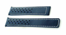 Replacement 22mm Blue WS Perforated Non-Tag Heuer Leather Strap Carrera/Monaco
