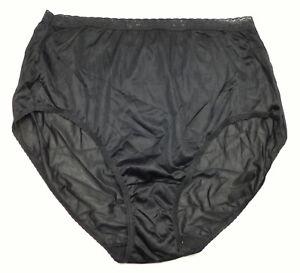 New JMS Hanes Black Nylon Brief Lace Waist Thin Silky Almost Sheer 26/28 12/4X