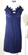 Sophisticated Chloe Navy Acetate Blend Embroidered Front Sleeveless Dress 34 2 3
