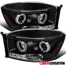 For 2006-2009 Dodge Ram 1500 2500 3500 Black LED Halo Rim Projector Headlights