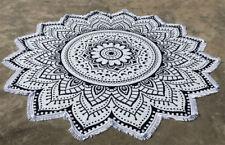 Black & White Lotus Mandala Round Tapestry Indian Mandala Roundie Beach Towel