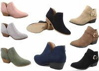 NEW Women's Buckle  Zipper Almond Toe Low Heel Ankle Booties Shoes Size 5 - 10