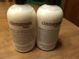 2 Bottles Philosophy Cinnamon Buns Shampoo and Shower Gel 16 oz Bubble Bath NEW