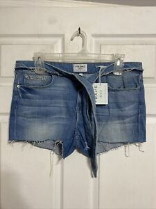 Frame Le Cutoff Released Medium Wash Cutoff Shorts With Tie Waist Womens 32 NWT