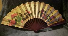 Hand Fan peacock Cream/brown/writing (like new condition)