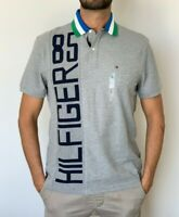 Tommy Hilfiger Mens Designer Performance Polo Wicking Cotton Poly Grey Size L