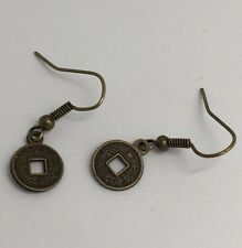 Dark Gold Colour Chinese Symbol Coin Charm Earrings 3.5 cm Long  F066 Sun