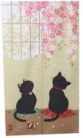 Japanese Noren Curtain SAKURA CHERRY CAT 85 x 150cm MADE IN jAPAN