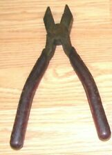 """Vintage M. Klein & Sons Red Handle 9"""" Long Linemans Pliers - Chicago, Usa *Read*"""
