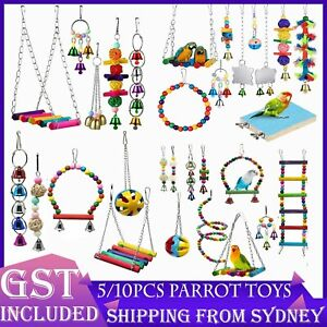 5/10PCS Bird Toys Parrot Swing Toys Chewing Hanging Bell Cockatiel Cage Toy Set
