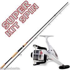 offerta spinning canna da 2,40 mt e mulinello completo pesca luccio black PB2499