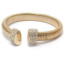 Statement Gold Crystal Flexible Snake Chain Bracelet Bangle By Rocks Boutique