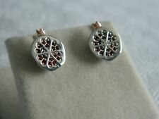 Clogau Silver & 9ct Rose Welsh Gold Catalina Garnet Stud Earrings RRP £189.00