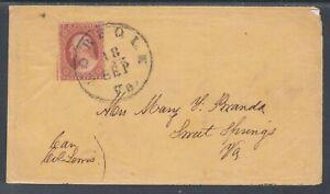 US Sc 10A on cover. 1851-57 3c Washington type II, NORFOLK to SWEET SPRINGS VA
