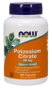 NOW Foods Potassium Citrate Electrolyte pH Balance 180 Caps 03/22EXP FREE SHIP