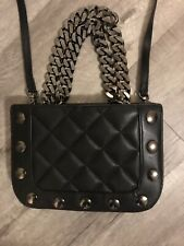 New Thomas Wylde Lambskin Leather  Black Quilted Small Crossbody Bag