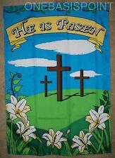 """2'x3' Easter Crosses Garden Flag Jesus He Is Risen Resurrection Happy 24x36"""" 2X3"""