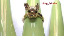 FRENCH BULLDOG RING Französisch Bulldog Ring head Kopf gold color AKTION