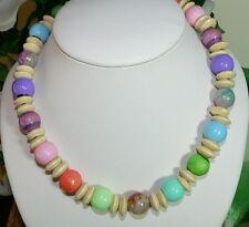 KETTE Perlen Acryl Glas marmoriert glanz Rondelle  Holz pastell multicolor  469i