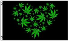 Marijuana Leaf Love Heart Black Polyester 3x5 Foot Flag Pot Banner Weed Hippie