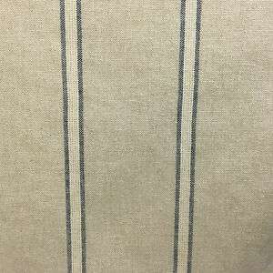"""Stamford Stripe French Linen Blue 280cm/108"""" Wide Curtain Fabric"""
