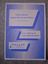 Herr Doktor, Erinnern Sie Sich Noch Sheet Music, Hans-Georg Huebsch, Hans Haller