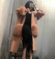 Womens Long Cashmere Trench Coat Big Lamb Fur Pocket Ladies Cardigan Winter Tops