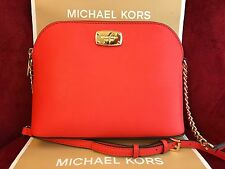 NWT MICHAEL KORS SAFFIANO LEATHER CINDY LARGE DOME CROSSBODY BAG IN SIENNA