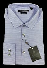 Men's JOHN VARVATOS Blue Gray + Plaid SLIM FIT Dress Shirt 17 34/35 NEW NWT NiCe