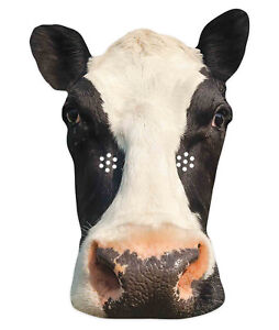 Cow Animal 2D Single Card Party Mask - World Book Day Farmyard Cattle