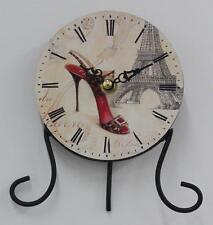 STUNNING PARIS Clock with a Leopard Print Shoe..NEW.