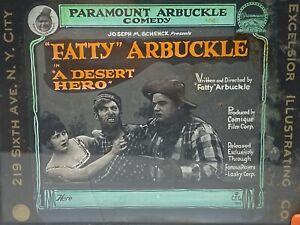 Vtg 1919 Fatty Arbuckle Desert Hero Glass Movie Slide Molly Malone Al St John