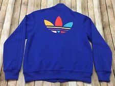 Adidas Track Jacket Pharrell Williams Trefoil Supercolour Blue VTG Hip-Hop LARGE