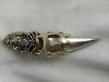 SP alloy Gothic armor jointed knuckle skull & skeleton spike end ring size 9