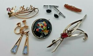 Vintage Costume Jewelry Lot - Quality Brooches, earrings, shirt studs