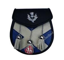 HS Semi Dress Kilt Sporran Saltire Thistle Crest Kilt Sporrans Leather Scotland