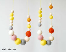 Wooden bead necklace Yellow Summer Fashionable Women Girl Chunky Statement