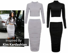 SALE New Women Ladies Tracksuit Cropped Top Skirt Palazzo Trousers Rushed Midi