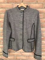 TALBOTS Women's Sweater Jacket Blazer Gray Black 100% Merino Wool Size Medium