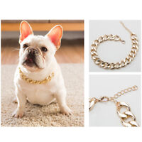 Pet Choke Chain Gold Silver Collar Necklace Small Cat Dog French Bulldog