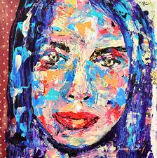 Blue Impressionist Palette Knife Portrait Painting Katie Jeanne Wood
