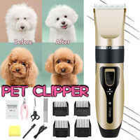 Rechargeable Pet Cat Dog Clipper Grooming Kit Electric Hair Trimmer Comb Set USB