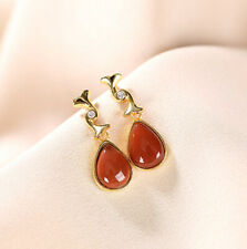 F02 Earring Droplets from Red Agate Gilded Silver 925 White Crystal
