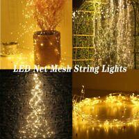 LED Fairy String Light Flex Net Mesh Solar Xmas Tree Party Wedding Decor Outdoor